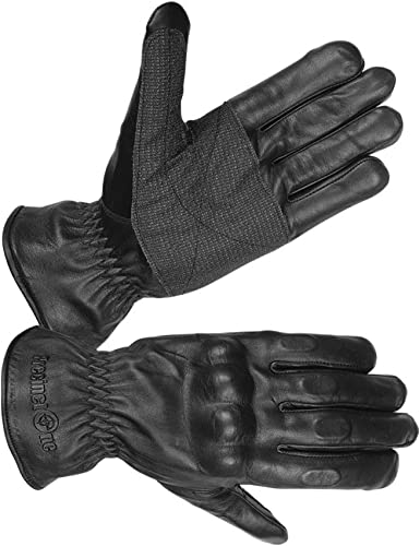 Mens Lined Leather Water Resistant Padded Knuckle Motorcycle Gloves