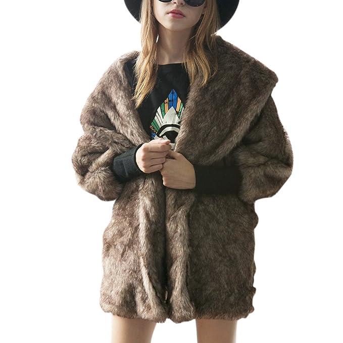 6cdce8b00 iBaste Moda Mujer Abrigo Larga Chaqueta de Pelo Otoño e Invierno Mangas de  Murciélago Pelo Sintético Diseño de Costura  Amazon.es  Ropa y accesorios