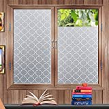 arch window covering - Soqool Decorative Privacy Window Film No Glue Window Cling Coverings Vinyl Privacy Film Privacy Stickers for Windows Non-Adhesive Window Film for Home/Office Decor 17.7