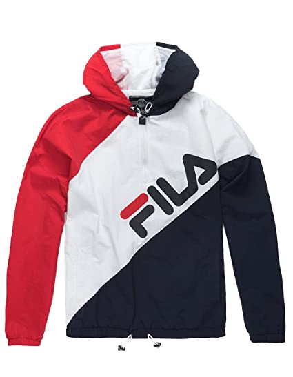 da1808049 Fila Men's Harrison 1/2 Zip Hoodie, White, Chinese Red, Navy, 2XL at ...