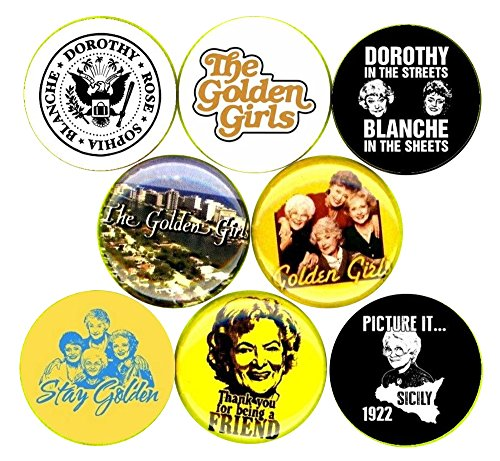 Golden Girls 8 NEW buttons pins badges the rose blanche sophia dorothy