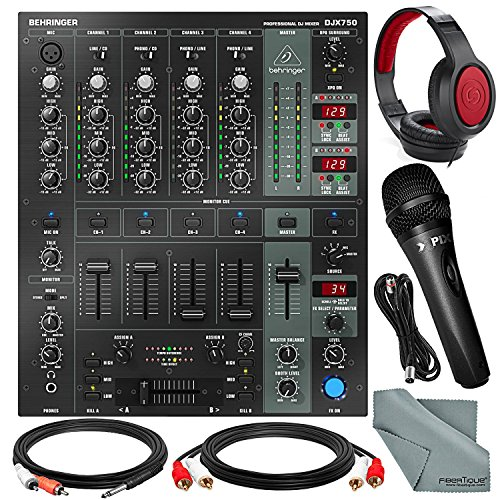Behringer DJX750 Professional 5-Channel DJ Mixer with Samson Closed-Back Headphones, Xpix Handheld Microphone, and DJ Accessory Bundle (4 Channel Automatic Mixer)