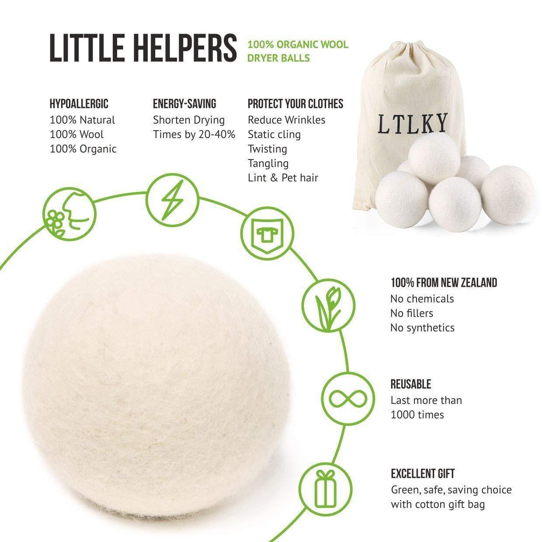 Dryer Balls Laundry Wrinkle Fabric Balls for Dryer Natural Dryer Softener Oil Dryer for Home Gift Set (6 PACK -2.9'') by LTLKY (Image #4)