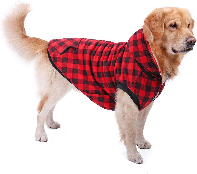 PAWZ Road Camisa a Cuadros para Perros Abrigo con Capucha Ropa para Mascotas Ropa de Invierno Cálida y Suave para Perros medianos y Grandes Versión de actualización Rojo L