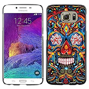 Eason Shop / Hard Slim Snap-On Case Cover Shell - Indian Pattern Floral Skull Death - For Samsung Galaxy S6 SM-G920