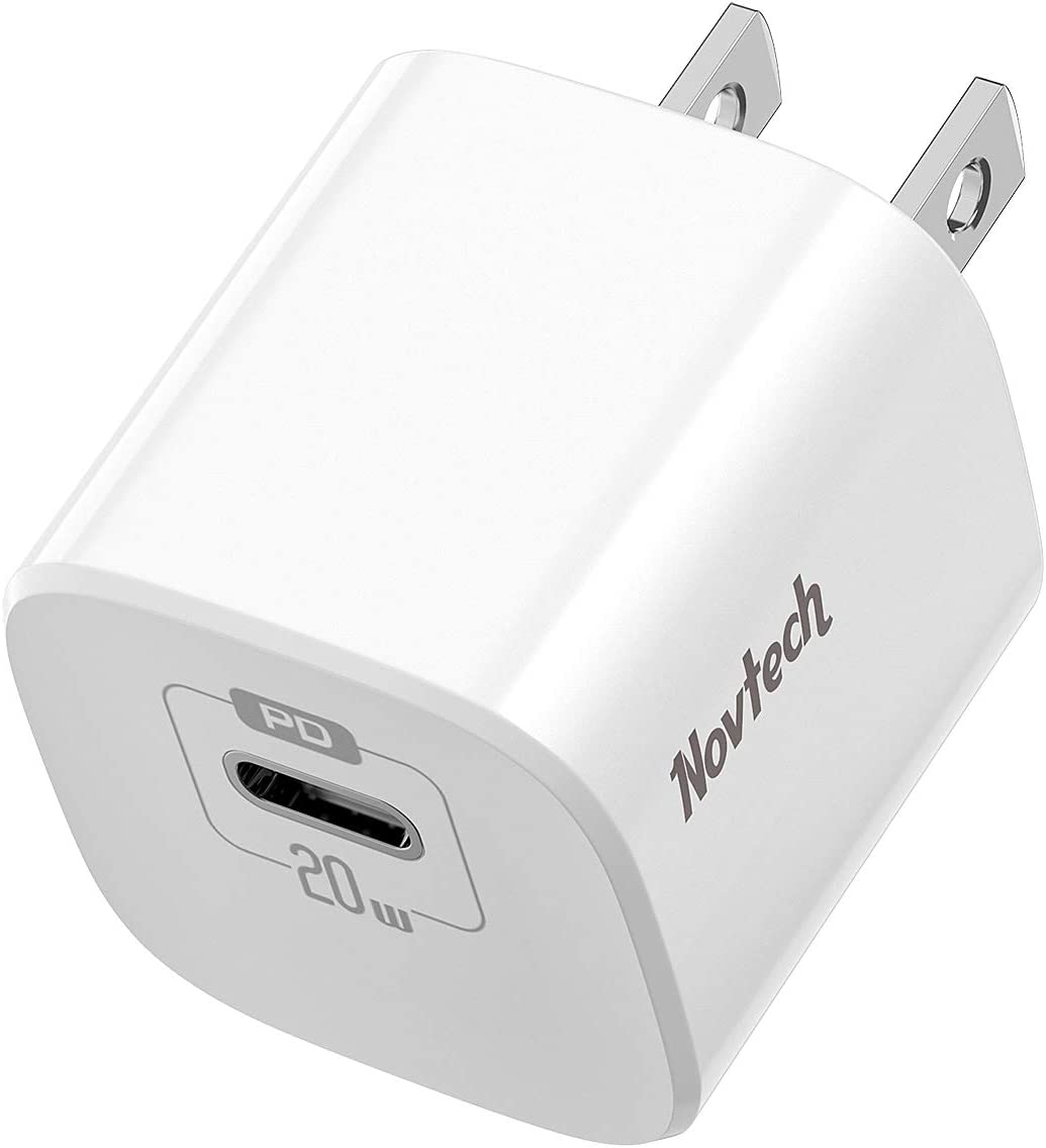 USB C Wall Charger Plug - Novtech 20W iPhone Fast Charger Type C Charger Block - Power Delivery Wall Charger Adapter for iPhone 12 11 Mini Pro Max SE 2020 Xs XR X 8 Plus, iPad, AirPods, Galaxy, Pixel