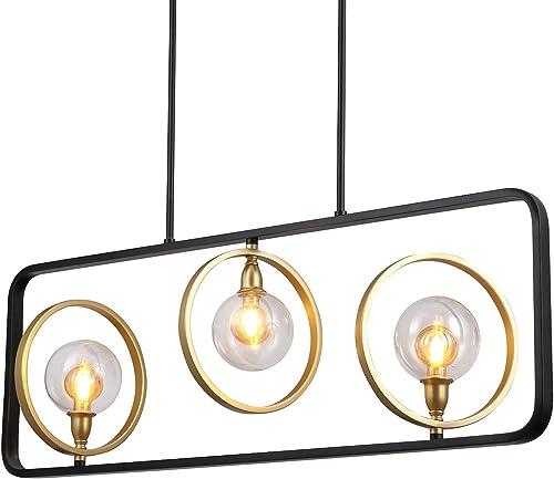 Osimir 3-Light Kitchen Island Pendant Lighting, 38.75 Island Light Fixtures in Matte Black Gold Finish, Clear Globe Glass Ceiling Light, CH9126-3