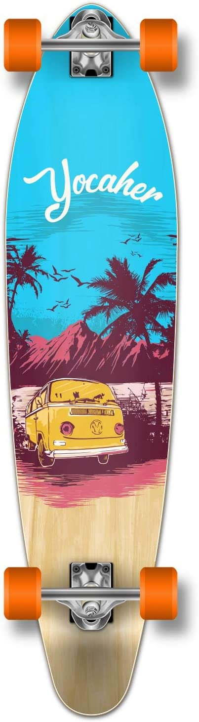 Yocaher New VW Vibe Beach Series Longboard Complete Cruiser and Decks Available for All Shapes Complete-Kicktail-Blue