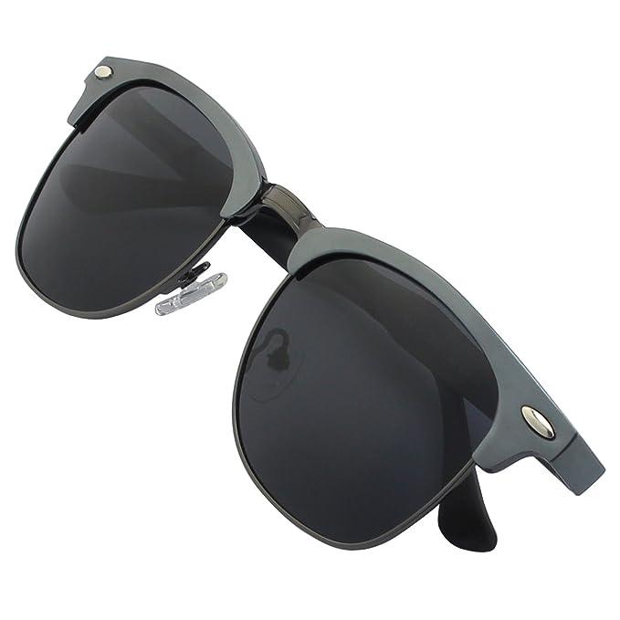 GQUEEN Bocina estilo enculado Al-Mg Medio marco gafas de sol polarizadas GQF8