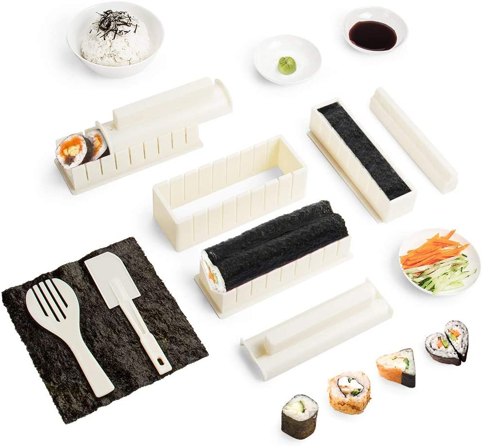 Virklyee Sushi Maker kit 10pcs 5 Formas únicas de Kit para Hacer Sushi Molde Inicio Hacer Sushi Kit Sushi kit del fabricante Fácil y divertido DIY Set de Sushi Roll arroz rollo molde (Blanco)