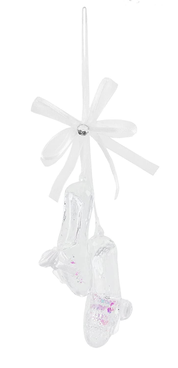 Caffco Crystal Clear Ballet Shoes Hanging Christmas Ornament