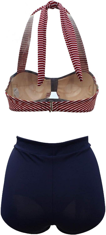 Viloree Femme Rockbilliy 50s Taille Haute Bikinis Maillots de Bain 2 Pi/èces Rayure Marine