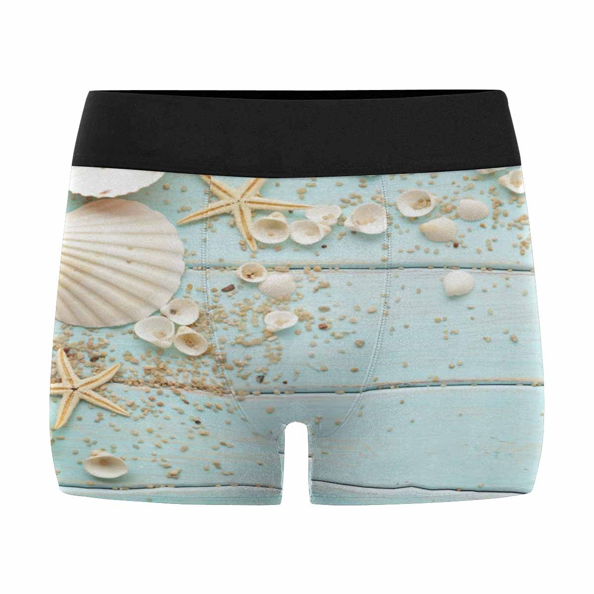 INTERESTPRINT Boxer Briefs Mens Underwear Seashells Frame on Wooden Nautical Border XS-3XL