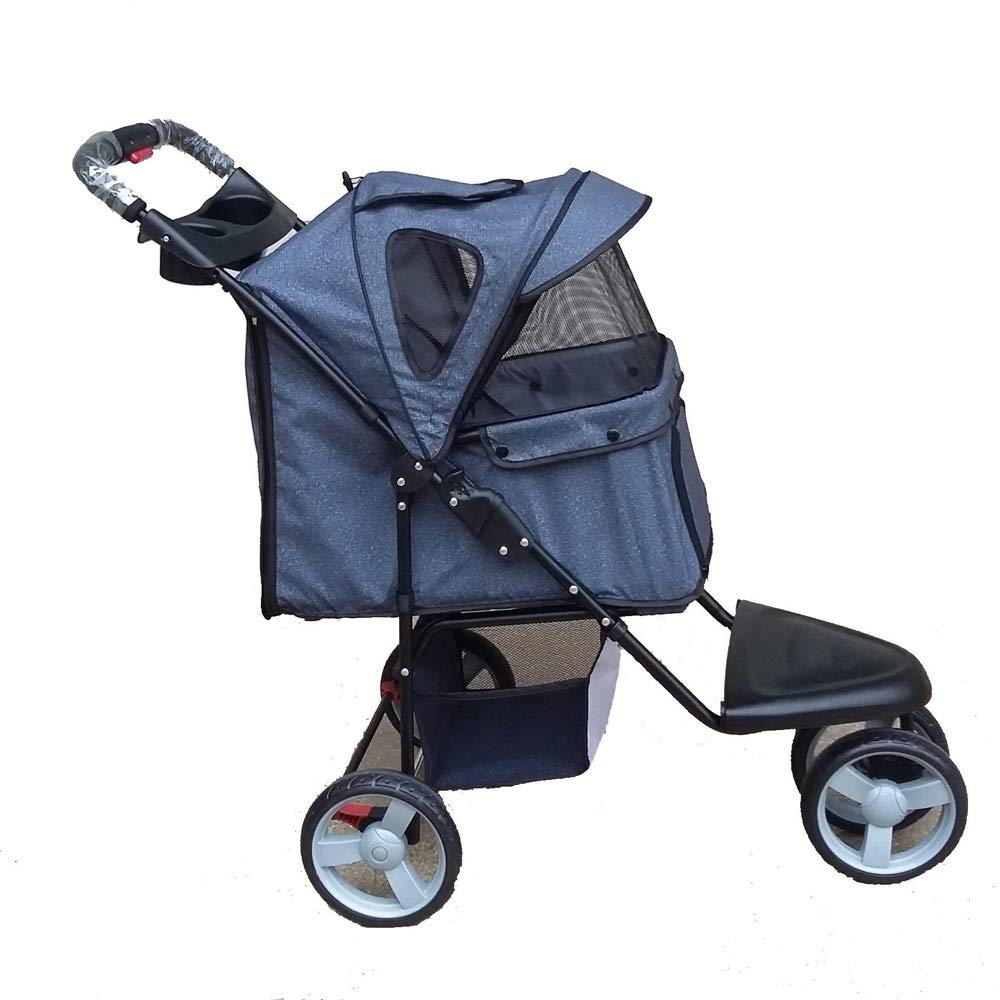 Denim Three-Wheeled Pet Stroller Folding Breathable Pet Car (color   Denim)