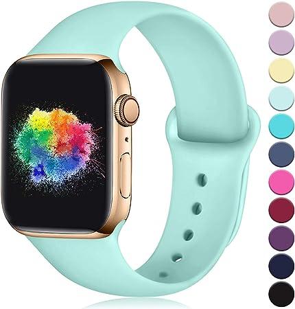 Imagen deYoumaofa Correa Compatible con Apple Watch 42mm 44mm, Correa de Silicona Repuesto Pulsera Deportivas para iWatch Series 5 Series 4 Series 3 Series 2 Series 1, 42mm/44mm M/L Menta
