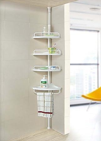 Vender ideas® ducha caddy organizador no rústico baño telescópico esquina estante de almacenamiento de 4 pisos y 3 Tier, 4 Tier Storage: Amazon.es: Hogar