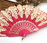 Red Edge Multi-Colors Fabric Floral Plastic Sequins Peacock Lace Elegant Hand Fans Wedding Favors And Gifts Dance Fan