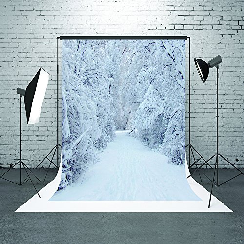 HMT 5X7ft (150cmX220cm)Christmas Backdrop Photography Frozen Snow Tree Background Winter Scenic Photography Backdrops For Wedding (Winter Wonderland Backdrop)