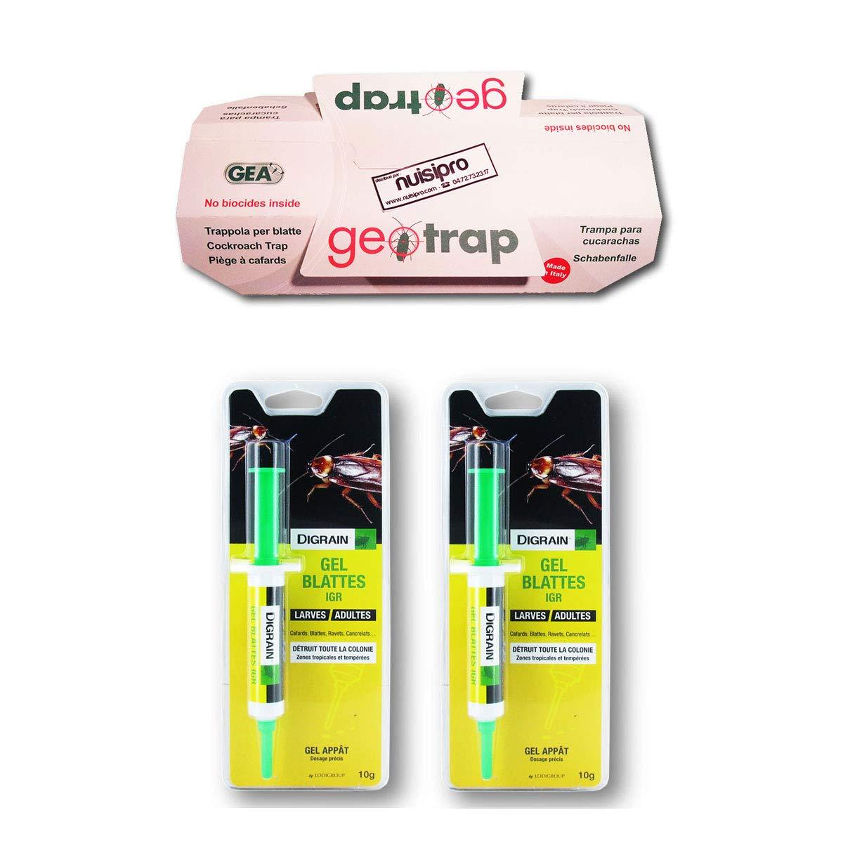 DIGRAIN 2 gels (10g) + 1 piège Collant Offert, Anti cafards et blattes, Action Longue durée LODI