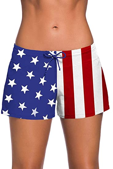 9bc03cc6a9 Swim Shorts for Women Sports Summer Bottom Slit Swim Beach Board Shorts  (American Flag,