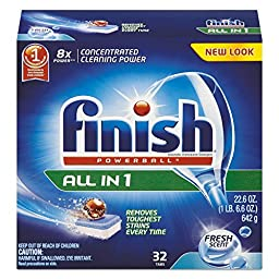 FINISH REC 81049 RAC81049CT Powerball Dishwasher Tabs, Fresh Scent, 32/Box (Pack of 8)