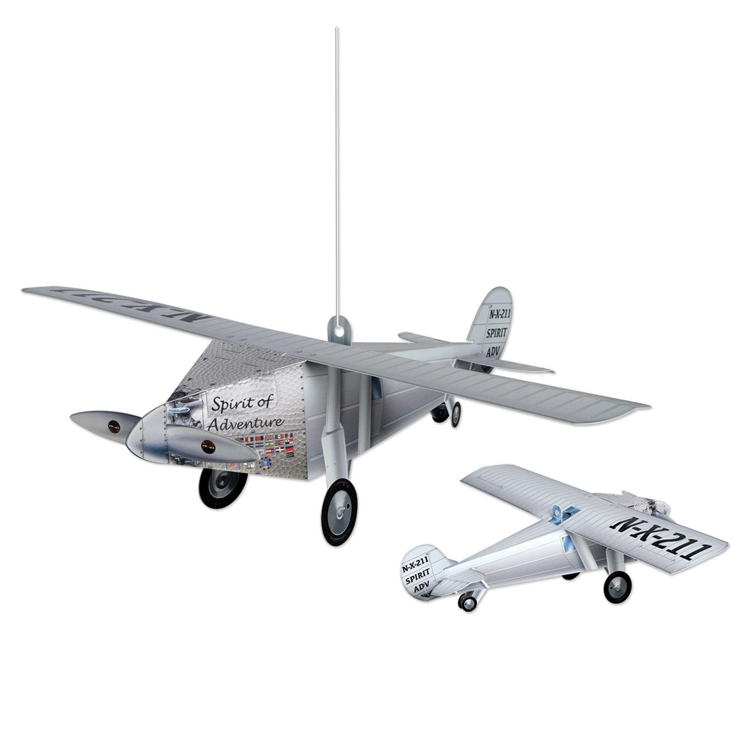 Party Central Club Pack of 12 Silver Spirit of Adventure 3-Dimensional Airplane Centerpiece 15.25''