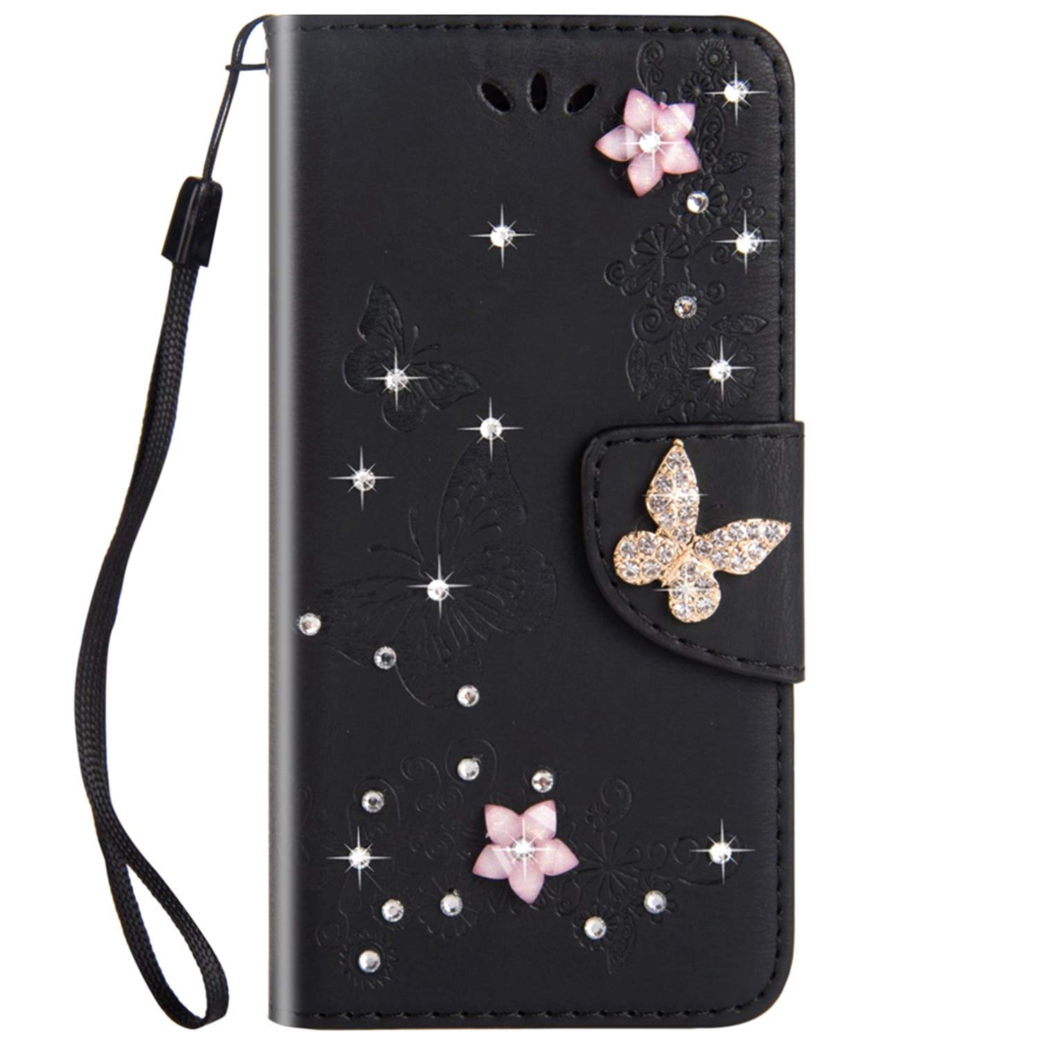 JAWSEU Case Flip Compatible with Sony Xperia XZ1 Compact, PU Leather Wallet Folio Full Body Cover 3D Bling Sparkly Diamonds Butterfly Design Front and Back Magnetic Closure Card Slots Case,Black