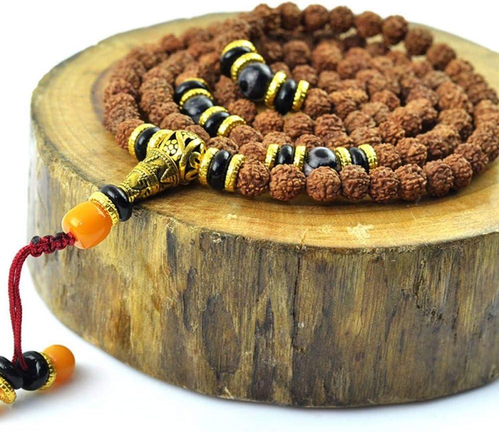 MLJSX Pulsera Pequeñas Pulseras Kingkong Bodhi 108 Cuentas de Rosario con una Cuerda de Mano de Piedra Bodhi Semillas Buda oración