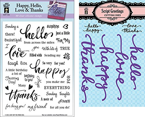 "Coordinating Script Greetings Cutting Die Set and Happy, Hello, Love, Thanks Clear Silicone Stamp Set by Hot Off The Press | A 6""x8"" Sheet with 40 Stamps and 4 Metal Cutting Dies"