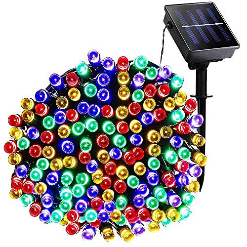 Autbye LED String Light Newest Design 200 LED Solar & AA Dry Battery 2 Ways-Powered Starry Lighting 72ft 22m 200 LED 8 Modes Multi Color Christmas Waterproof Fairy String -