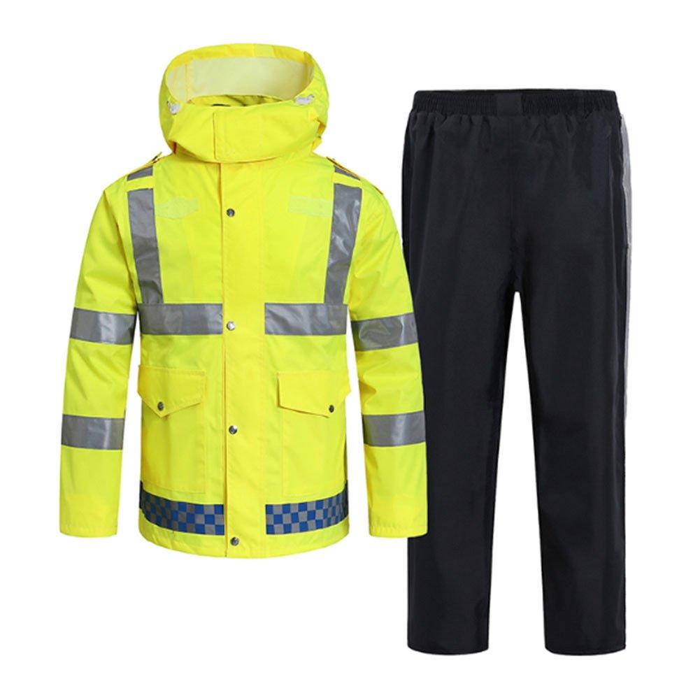 Deylaying 蛍光トラフィック安全性ワークスーツ反射的警告 レインスーツセットコート+パンツ B078T4QVBM