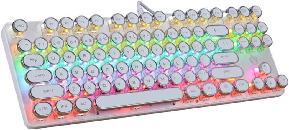 Amaping - Teclado mecánico estilo Steampunk con retroiluminación LED RGB colorido, USB con 87 teclas, teclados para juegos para PUBG LOL Gamer diseño ...