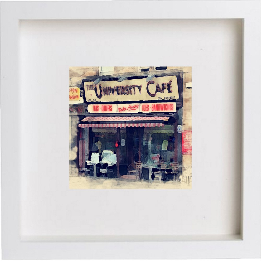 Wall Art Watercolour Print of The University Cafe | Glasgow, Scotland | with Stylish Contemporary 23x23cm Frame 193 Images of Glasgow