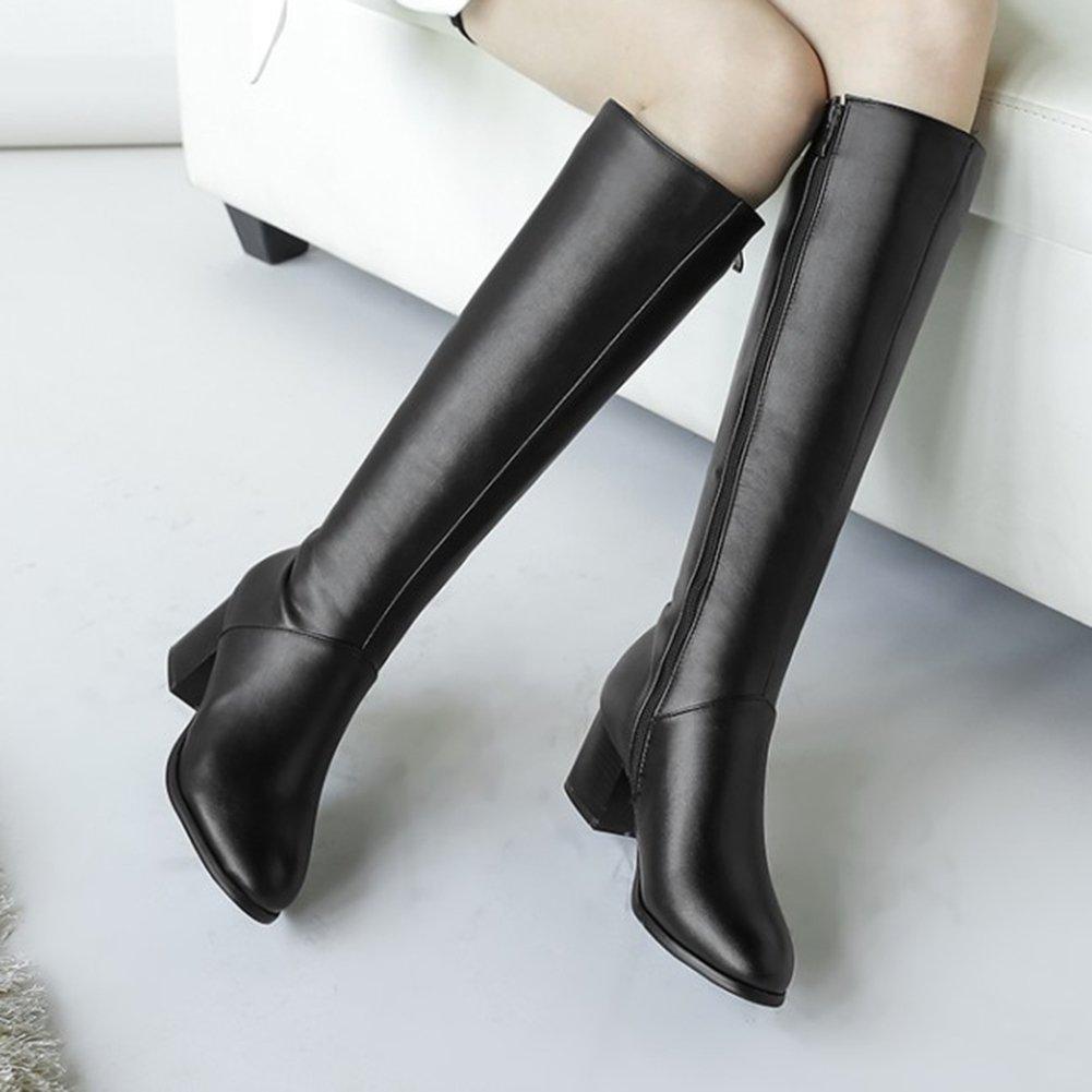 Mofri Women's Dressy Block Medium Heel Round Toe Side Zipper Under The Knee High Riding Boots (Black, 7 B(M) US) by Mofri (Image #4)