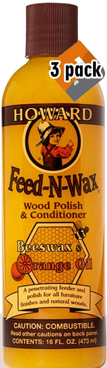 Howard Products FW0016 Feed-N-Wax Wood Polish and Conditioner, Beeswax &, 16 oz, orange, 16 Fl Oz - 3 Pack by Howard Products