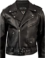 Mens Black Leather Brando Motorcycle Biker Jacket by Skintan
