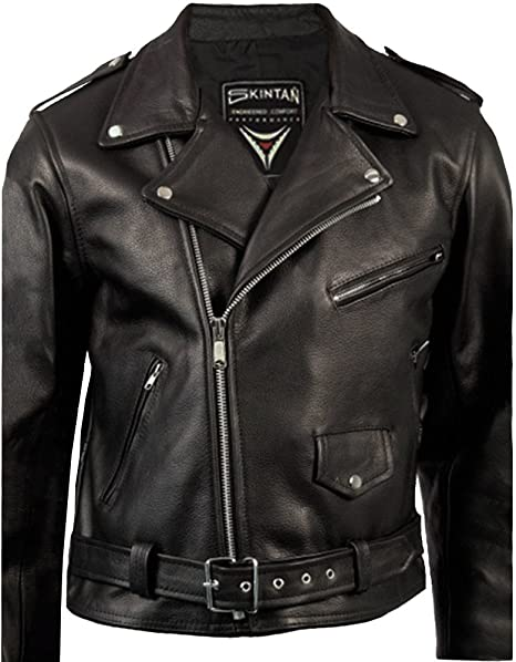 differently 60% cheap strong packing Skintan Mens Black Leather Brando Motorcycle Biker Jacket