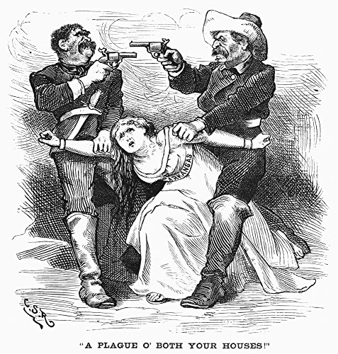 Cartoon Brooks-Baxter 1874 A Plague O Both Your Houses American Cartoon On The Brooks-Baxter War Which Pitted Elisha Baxter Elected Governor Of Arkansas In 1872 Against His Opponent Joseph Brooks Who (War Baxter Brooks)