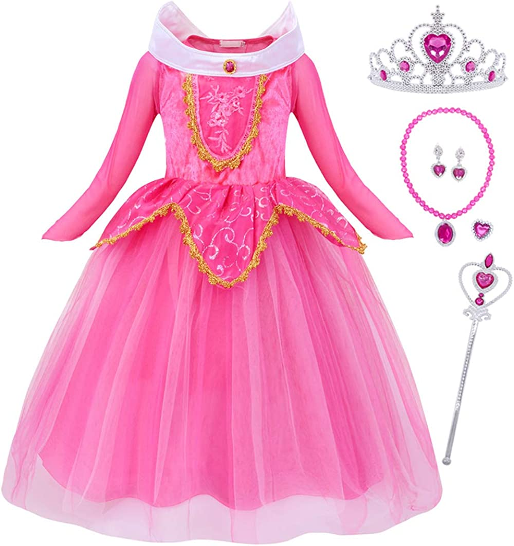Nobrand Cinderella Rapunzel Costume Belle Snow White Dress Princess Aurora Birthday Party Halloween Dress Up Outfit