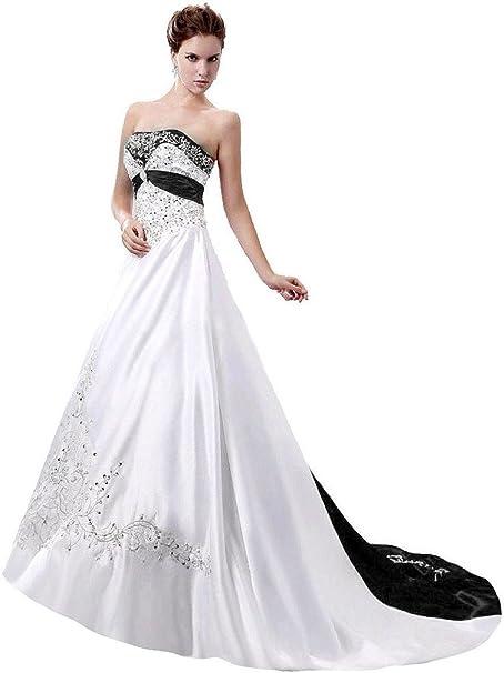 Amazon.com: Snowskite vestido de novia de satén sin tirantes ...