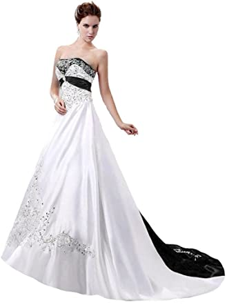 235d1470ae717 Snowskite Women s Strapless Satin Embroidery Wedding Dress 0 Ivory Black