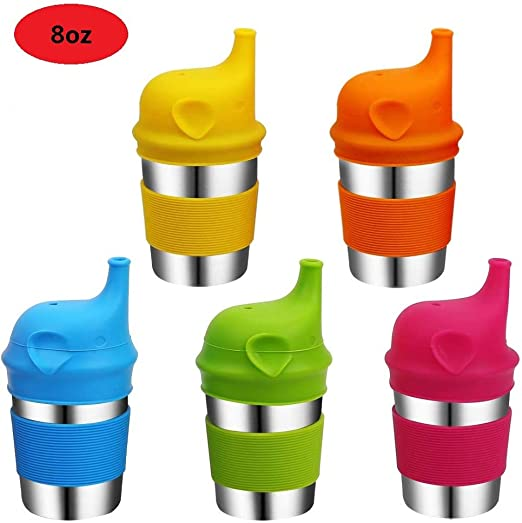 Elephant Kid's Spill Proof AL Baby Sippy Cup Lids and Stainless Steel Cup