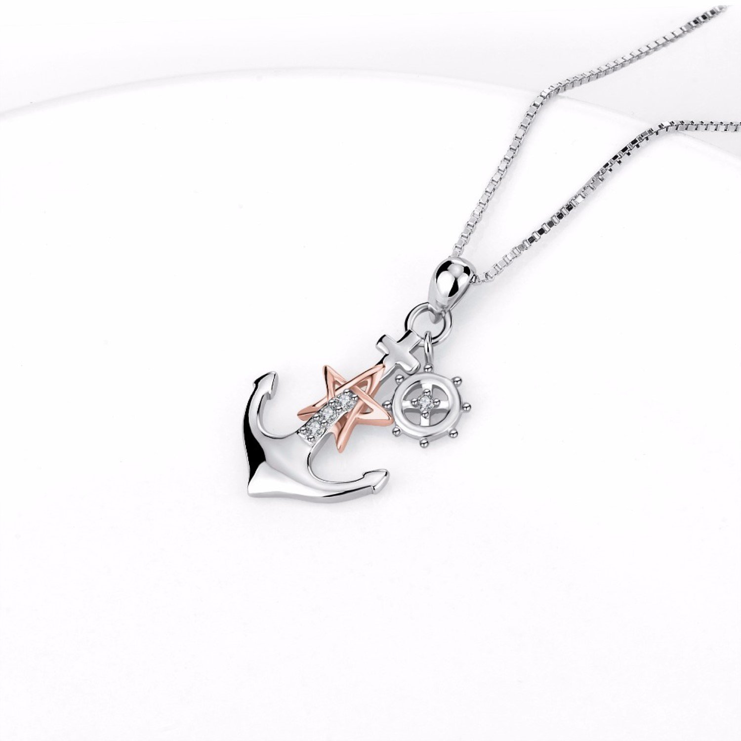 CS-DB Womens Necklaces by Silver Pendant Anchor Girls Rose Gold Star Paddle Charm Girls