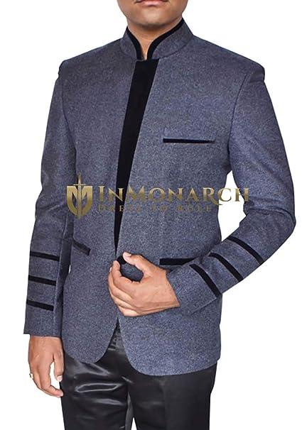 INMONARCH Chaqueta Gris azulada para Hombre Classic V Style ...