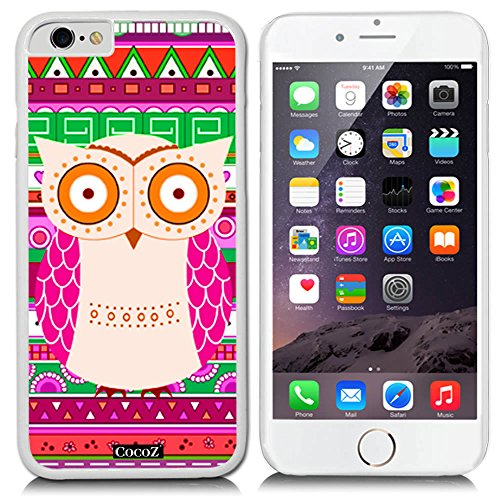 CocoZ? New Apple iPhone 6 s 4.7-inch Case Lovely owl National wind pattern PC Material Case (White PC & OWL - M Tiffany Brown
