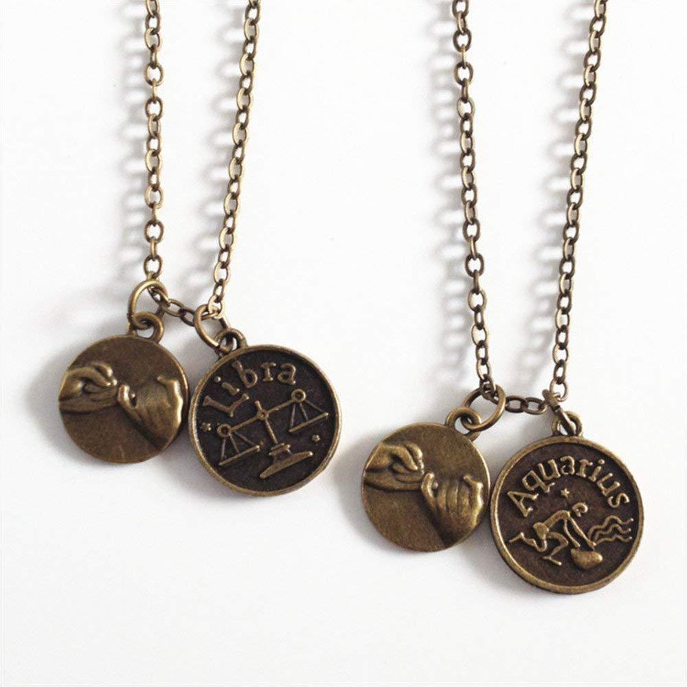 set of 2 pinky promise necklaces with Zodiac  initials,Aries,Taurus,Gemini,Cancer,Leo,Virgo,Libra,Scorpio,Sagittarius,Capricorn,Aquarius,Pisces