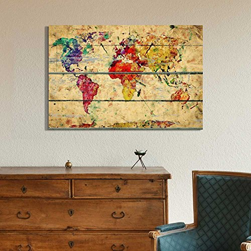 """Wall26 Canvas Prints Wall Art - Abstract Colorful World Map on Vintage Wood Background Rustic Home Decoration - 24\"""" x 36\"""""""