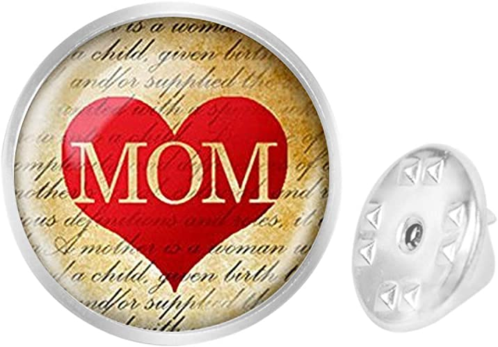 WAZZIT Round Metal Tie Tack Hat Lapel Pin Brooches Love Mom Hearts Printing Banquet Badge Enamel Pins Trendy Accessory Jacket T-Shirt