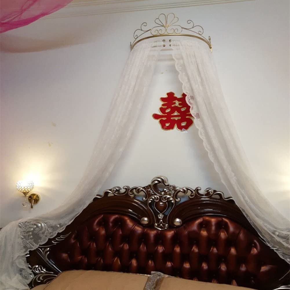 Ciel de lit princesse,Fer forg/é europ/éen moustique couvre-lit rideaux rideaux d/écoratifs couronne filet voilages-A