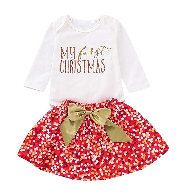 Niña Recién Nacida 3 Piezas Trajes Romper Monos + Falda de Lunares + Diadema Disfraz De Princesa De Navidad Niño Bebé Niñas Infantil Mi Primera ...
